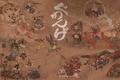 Картинка оружие, демоны, мост, фон, бумага, живопись, люди, кони, битва, рисунок, дух, иероглифы, самураи