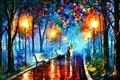 Картинка пара, картина, парк, масло, зонт