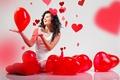 Картинка Valentines Day, beautiful, радость, смех, девушка, красные, сердце, heart, руки, шарики