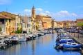 Картинка солнечно, мосты, Франция, дома, лодки, канал, Martigues, небо, река, облака