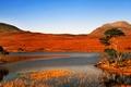 Картинка озеро, небо, горы, остров, панорама, деревья, трава