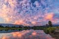 Картинка рассвет, озеро, небо, горы, облака