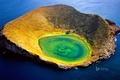 Картинка вулкан, море, Эквадор, Галапагосские острова, Сантьяго-Айленд, кратер