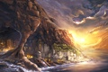 Картинка грот, арт, побережье, город, море, огни, скалы, река