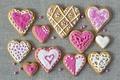 Картинка праздник, печенье, сердечки, love, pink, выпечка, hearts, valentines, глазурь, cookies, валентинки, glaze