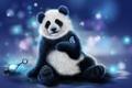 Картинка медведь, рендеринг, цвета, фон, бабочка, панда