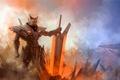 Картинка энергия, Jarvan IV, туман, hi-tech, меч, Воин, броня, League of Legends