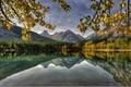 Картинка горы, canada, листья, озеро, канада, лес, река, пейзаж