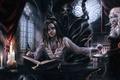 Картинка вампир, бокал, демон, writer, succubus, трон, кровь, девушка, рога, платье, писатель