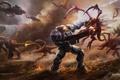 Картинка монстры, оружие, скафандр, корабли, арт, битва, броня, войны, gasone, StarCraft II, транспорт