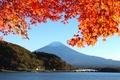 Картинка осень, небо, листья, деревья, мост, озеро, Япония, гора Фудзияма