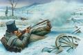 Картинка зима, мост, город, река, рисунок, арт, солдат, стрельба, винтовка, противник, с упора