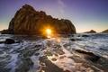 Картинка закат, скала, океан, Калифорния