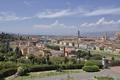 Картинка Арно, Италия, небо, Флоренция, дома, панорама, река