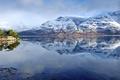 Картинка снег, горы, озеро, отражение, вечер