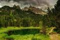 Картинка парк, river, горы, вода, trees, sky, река, scenery, облака, park, лес, clouds, forest, природа, деревья, ...