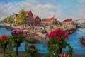 Картинка цветы, дома, Нидерланды, люди, пейзаж