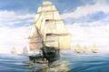 Картинка флот, арт, painting, парусников, идущий, Tom Freeman., высадка, впреди, эскадра, шлюпки, художник, штиль