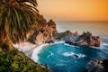 Картинка водопад, Биг-Сюр, California, Pacific Ocean, Big Sur, McWay Falls, Julia Pfeiffer Burns State Park, побережье, ...