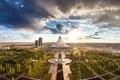 Картинка парк, астана, дома, деревья, небоскрёб, казахстан, хан шатыр, небо, облака