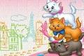 Картинка кошка, город, мультфильм, арт, коты аристократы
