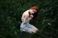 Картинка веснушки, прелесть, Defencelessness, беззащитность, Георгий Чернядьев, плечо, рыжеволосая, трава