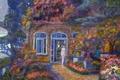 Картинка цветы, дом, девушка, Naohisa Inoue, деревья, двери, окна