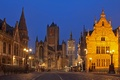 Картинка огни, дома, ночь, Гент, Бельгия