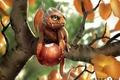 Картинка дракон, дерево, ветка, ягода, детеныш, арт, листья