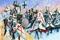 Картинка красный, оружие, атака, черный, рисунок, крест, арт, боевой топор, щиты, наёмник, копья, шлемы, арбалет, магистр, ...