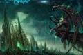 Картинка Wow, illidan, world of warcraft, замок, дождь, монстр