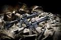 Картинка Автоматы, нож, сумки, 2 штуки, ткань, AR-15, assault rifles