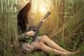 Картинка девушка, природа, музыка, гитара
