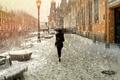 Картинка зонт, снег, Санкт-Петербург, девушка
