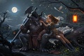 Картинка фонарик, монстр, фентези, арт, девушка, ночь, луна