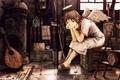 Картинка Haibane renmei, ангел, комната, крылья, сидит, нимб