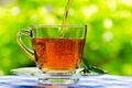 Картинка блюдце, салфетка, боке, чай, напиток, листья