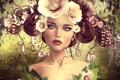 Картинка девушка, цветы, портрет, прическа