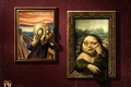 Картинка юмор, арт, галерея, картины, рожицы, Antonio De Luca, Mona Lisa, The Scream