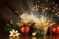 Картинка белый, цветок, украшения, шары, елка, подарки, красные, Праздник, новогодние