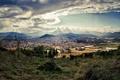 Картинка пейзаж, город, вершина, испания, олот