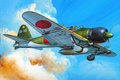Картинка арт, японский, Mitsubishi, времён, палубный, истребитель, рисунок, A6M5c, Zerosen, Второй мировой войны, самолёт
