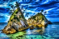 Картинка море, деревья, природа, скалы, hdr