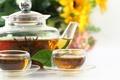 Картинка чайник, вязанный, цветы, листок, чай, пиалы, чашки