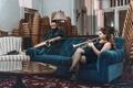 Картинка trumpet, saxophone, velvet, living room, girl, sofa, blue, musicians, man