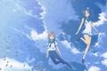 Картинка рыбки, подводный мир, друзья, школьная форма, art, школьники, голубое небо, Nagi no Asukara, Hideki Takahashi, ...
