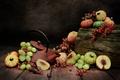 Картинка виноград, фрукты, тыква, персик
