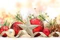 Картинка Новый Год, праздник, игрушки, New Year, Christmas, звезда, шарики, ветка, лента, красные, елочные, шишки, елка, ...