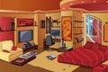 Картинка комната, журналы, картина, книги, интерьер, окно, кровать, полки, подушки, коврик, кресло, дизайн