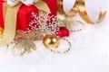 Картинка снежинка, лента, снег, merry christmas, праздник, новогодние игрушки, украшения, подарки, new year, новый год, шары, ...